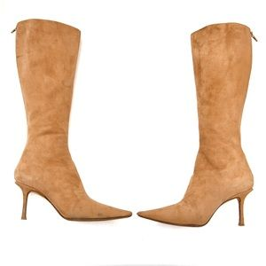 Jimmy Choo knee high suede heeled boots 7.5 flaws